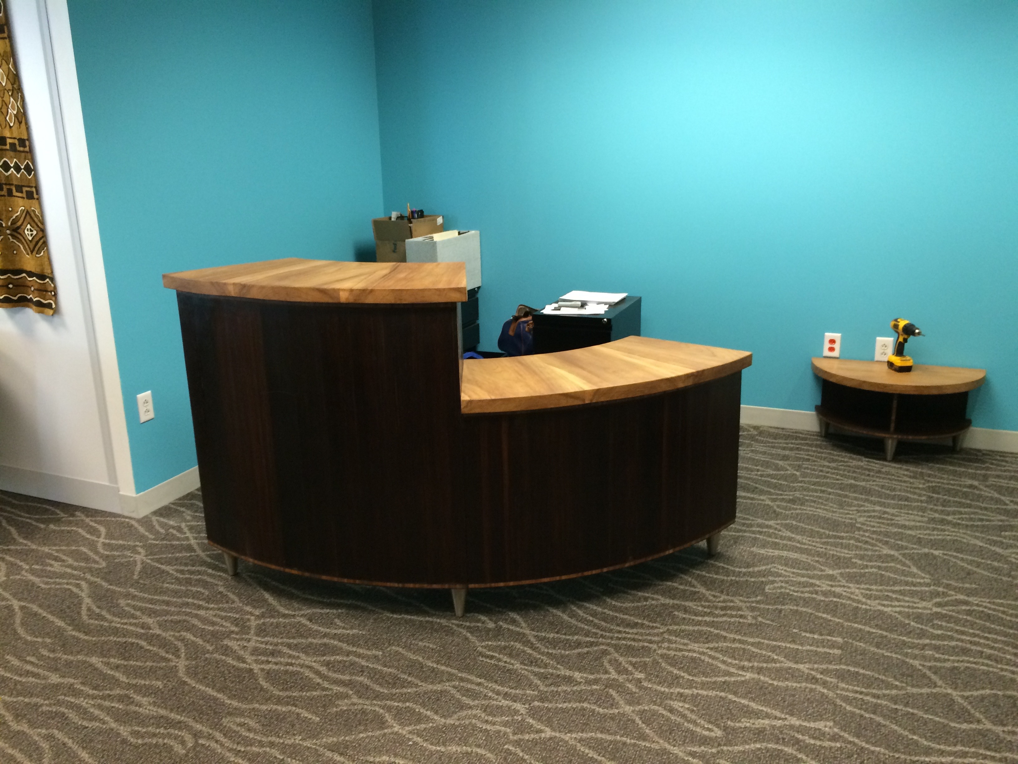 Custom reception desk and side table for non-profit headquarters, in Washington DC